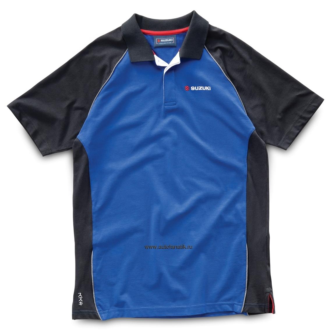 suzuki men s polo shirt blue black 990f0blpm100s 3300. Black Bedroom Furniture Sets. Home Design Ideas