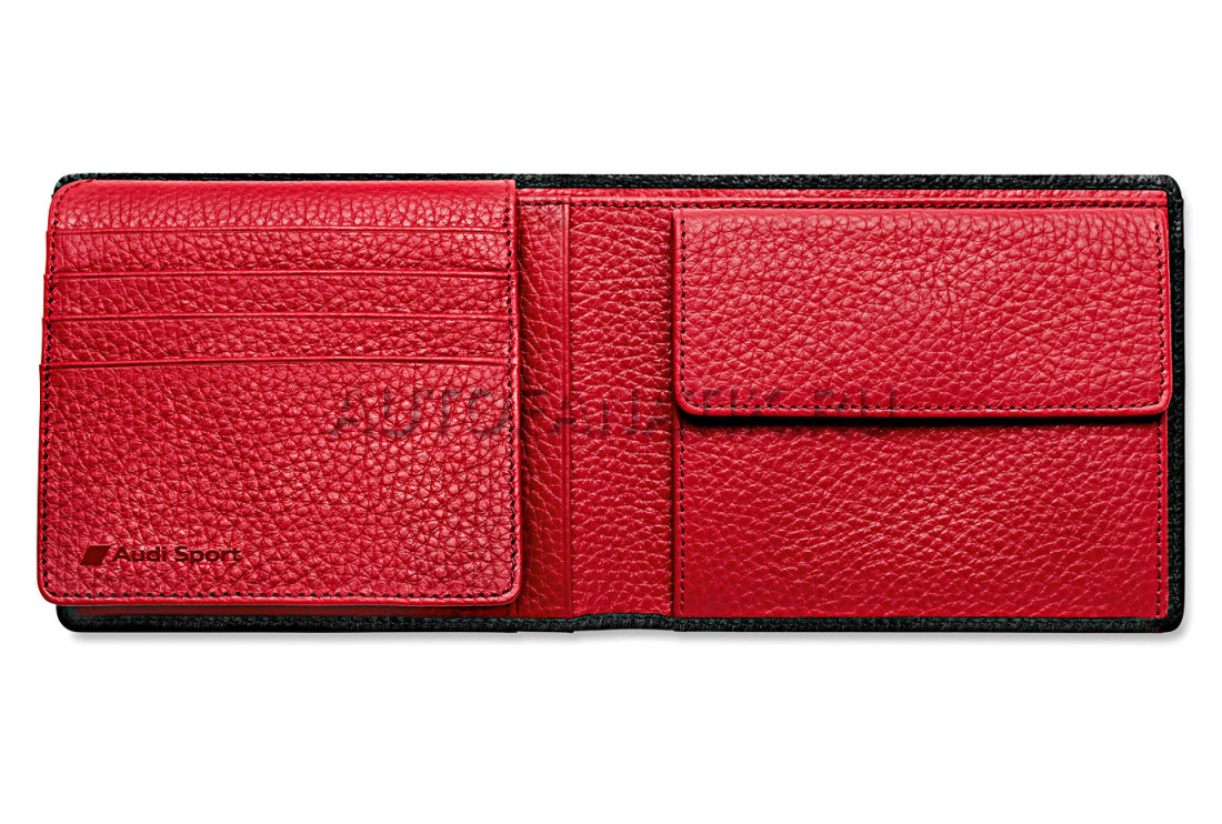 5f0603f173bc Мужской кожаный кошелек Audi Sport Mini purse, black/red, артикул 3141401500