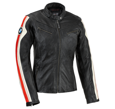 Женская мотокуртка BMW Motorrad Club Leather Jacket, Black/White