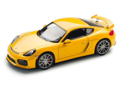 Модель автомобиля Porsche Cayman GT4 (981), Scale 1:43, Racing Yellow
