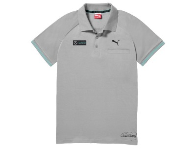 Мужская футболка поло Mercedes F1 Men's polo shirt, Rosberg 2015, Grey