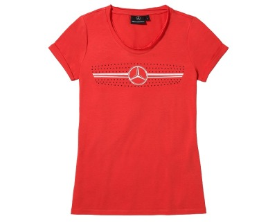 Женская футболка Mercedes Women's T-shirt, The radiator grille motif, Red