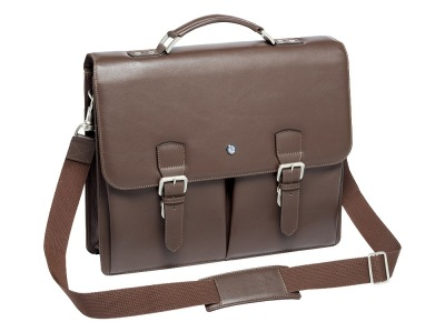 Мужской кожаный портфель Mercedes-Benz Men's business bag, Vintage Star, Brown