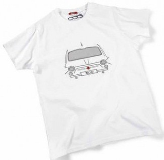 Мужская футболка Fiat 500 Mens White Embroided T-Shirt