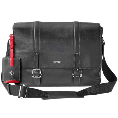Кожаная сумка Ferrari Messenger Bag Black