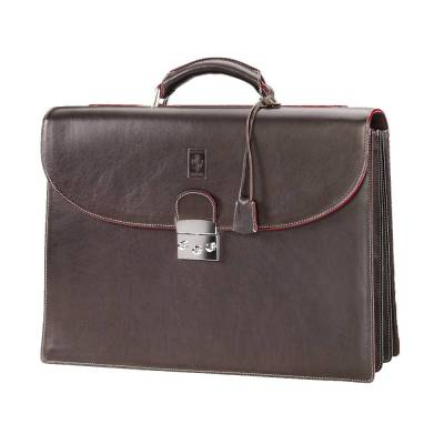 Кожаный портфель Ferrari Leather compartments briefcase Brown