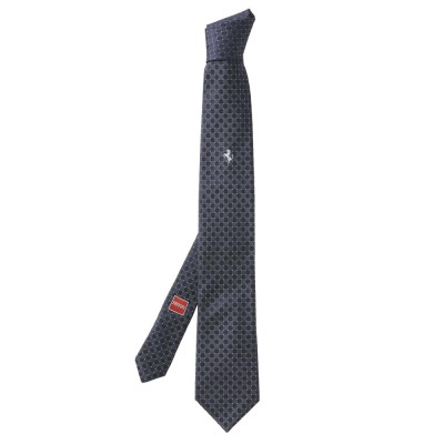 Галстук Ferrari Cavallino Rampante Tie Diamond pattern Blue Grey