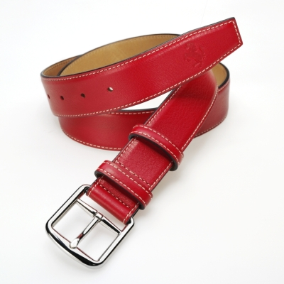 Мужской кожаный ремень Ferrari Men's Prancing Horse leather belt Red