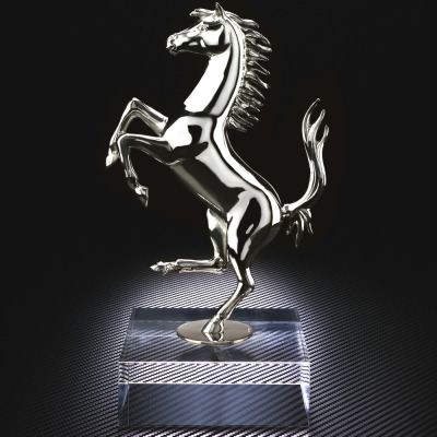 Silver sculpture of the Prancing Horse in limited edition