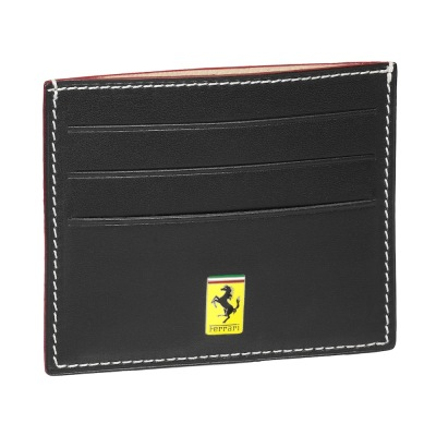 Кожаный футляр для кредиток Ferrari Leather credit card holder with 6 pockets Black