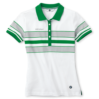 Женская рубашка-поло BMW Ladies Golfsport Polo Shirt, striped, Green White