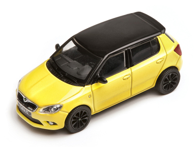 Модель автомобиля Skoda Fabia RS scale 1:43, yellow black