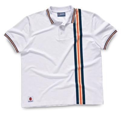 Мужская рубашка поло Suzuki Men's Striped Casual Polo Shirt, White