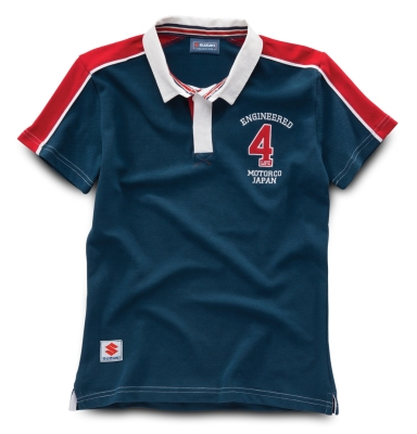 Женская рубашка поло Suzuki Women's Engineered 4 Life Rugby Shirt red, white and blue