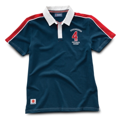Мужская рубашка поло Suzuki Men's Engineered 4 Life Rugby Shirt red, white and blue