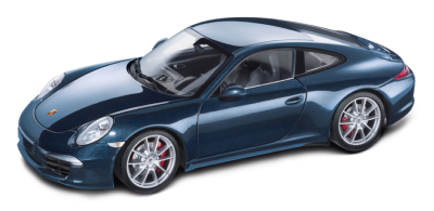 Модель автомобиля Porsche 991 Carrera S, Blue Metallic, Scale 1:18