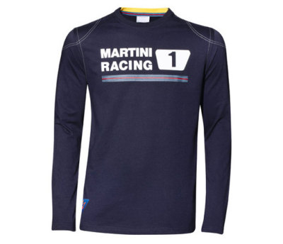 Мужская футболка Porsche Men's Martini Racing Long-Sleeved Shirt, Dark Blue