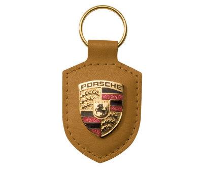 Брелок для ключей с гербом Porsche Crest Keyring, Cognac