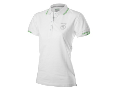 Женская рубашка-поло Skoda Women's white polo-shirt, White logo