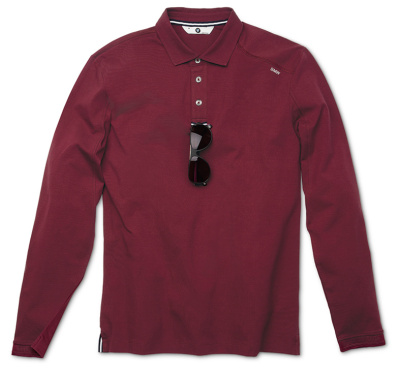 Мужская рубашка-поло BMW с длинным рукавом, BMW Long-Sleeve Polo Shirt, men, Bordeaux