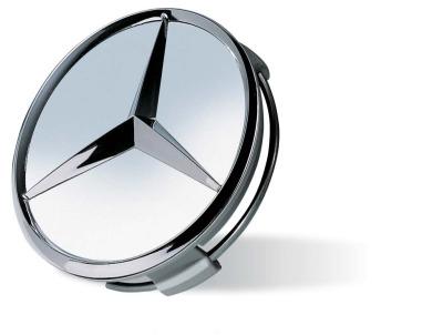 Колпачок ступицы колеса Mercedes цвета титановое серебро с хромированным логотипом