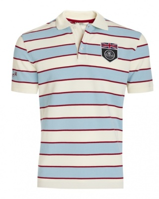 Рубашка-поло Lotus UK Flag Horizontal Stripe Polo Shirt Blanc