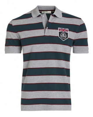 Рубашка-поло Lotus UK Flag Horizontal Stripe Polo Shirt Grey