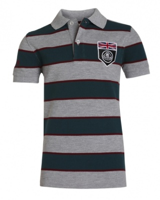 Детская рубашка-поло Lotus Childs UK Flag Horizontal Stripe Polo Shirt Grey