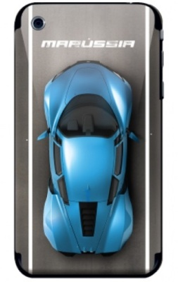 Наклейка на iPhone 3 Marussia Concrete Road Blue