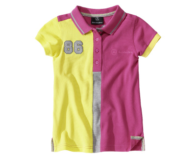 Детская футболка Mercedes Children's Polo Shirt, Girls, Pink / Yellow