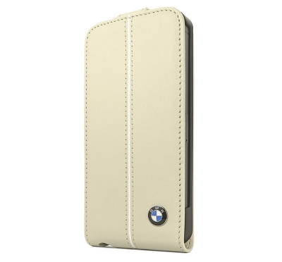 Кожаный чехол BMW iPhone 5/5S Signature Flip Cream