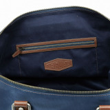 Дорожная сумка Jaguar Heritage Holdall, leather-Nylon, Blue-Brown, артикул JBLU182NVA