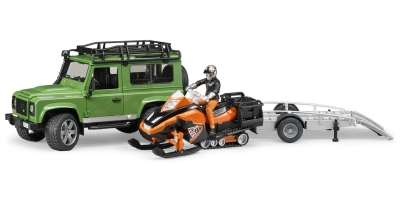 Модели автомобиля и снегохода Land Rover Defender Station Wagon, Snowmobile With Trailer & Driver Set