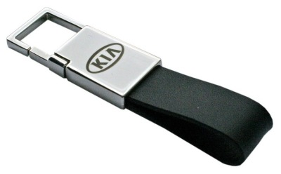Кожаный брелок Kia Logo Leather Keyring, Black