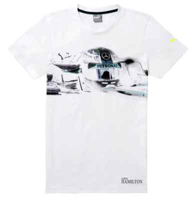 Мужская футболка Mercedes Men's T-Shirt, MAMGP Graphic, Lewis Hamilton Helmet, White
