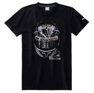 Мужская футболка Mercedes Men's T-Shirt, MAMGP Graphic, Lewis Hamilton Helmet, Black