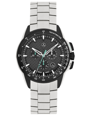 Мужские наручные часы Mercedes-Benz Men's Motorsport Chronograph Watch, Silver / Black / Petronas Green