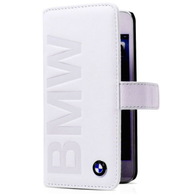 Кожаный чехол BMW iPhone 5/5S Logo Signature Booktype White