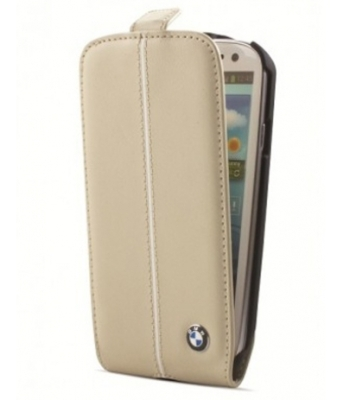 Кожаный чехол-флип BMW для Samsung Galaxy S4 Signature Flip Cream