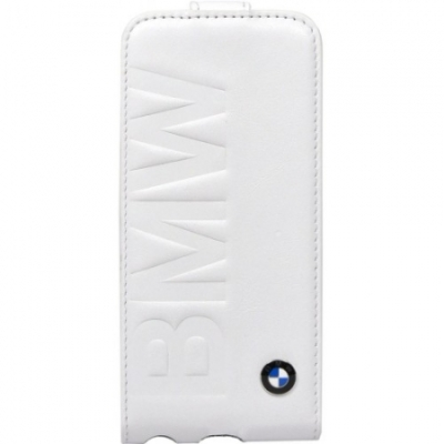 Кожаный чехол BMW для iPhone 5C Logo Signature Flip White