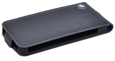Кожаный чехол BMW для iPhone 5/5S Logo Signature Flip Navy Blue