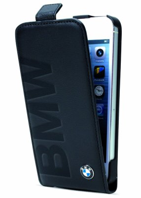 Кожаный чехол BMW для iPhone 5/5S Logo Signature Flip Black