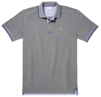 Мужская футболка поло Mercedes-Benz Men's Polo Shirt, Grey / Royal Blue