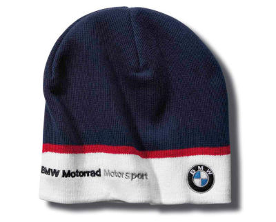 Вязаная шапка BMW Motorrad Motorsport Knitted Beanie Motorsport, Blue / White