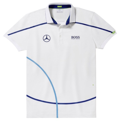 Мужская футболка поло Mercedes-Benz Men's Polo Shirt, Hugo Boss, White / Navy