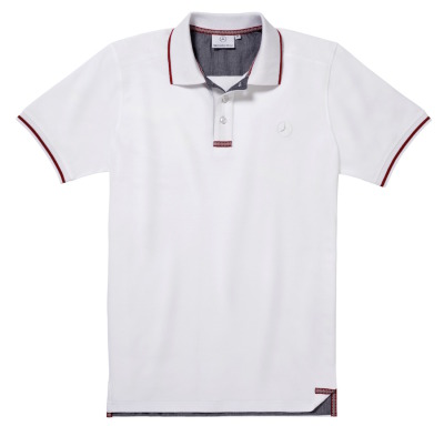 Мужская футболка поло Mercedes-Benz Men's Polo Shirt, White / Red details