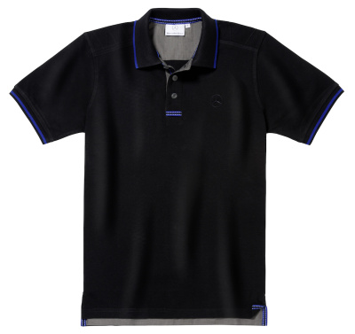 Мужская футболка поло Mercedes-Benz Men's Polo Shirt, Black / Royal Blue