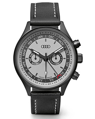 Наручные часы унисекс Audi Watch with calendar week, grey/black