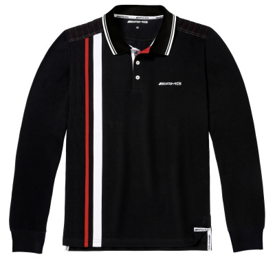 Мужская рубашка-поло Mercedes AMG Men's Polo Shirt, black/white