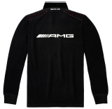 Мужская рубашка-поло Mercedes AMG Men's Polo Shirt, black/white, артикул B66957490